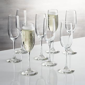Boxed Champagne Flutes, Set of 8