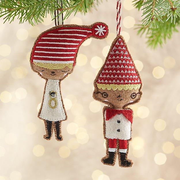 Boy and Girl Elf Ornaments