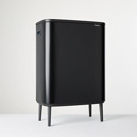 Brabantia Touch Bin Flat Top 30 Liter Wit.Brabantia Matte Black Dual Compartment Bo Touch Bin Hi