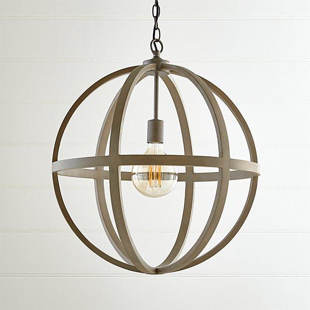 Braden Grey Wood Pendant Light - Image 1 of 7