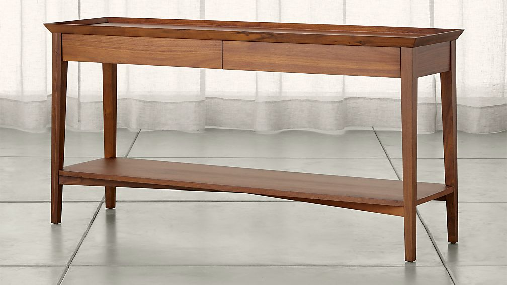 Walnut Console Table bradley walnut console table with drawers | crate and barrel
