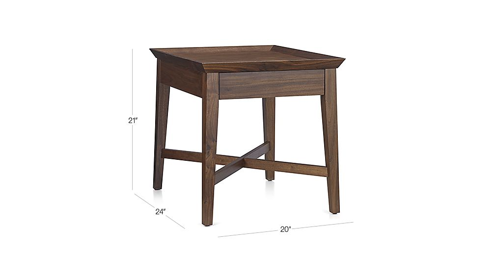 Bradley Walnut Side Table With Drawer Crate And Barrel