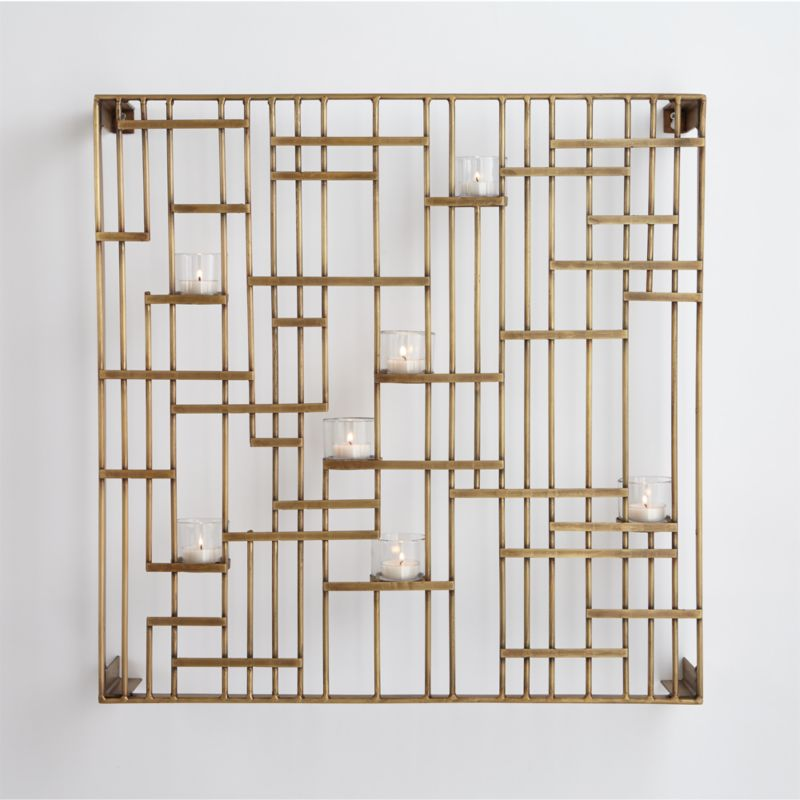 brass grid candleholder - Fabric Wall Designs