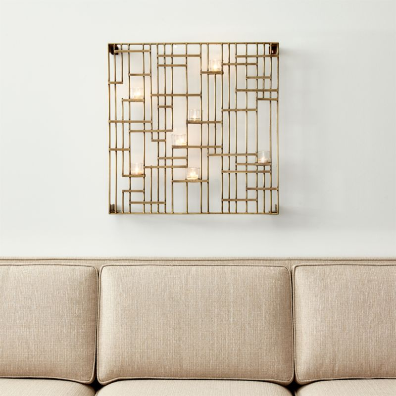 Genial Brass Grid Wall Candle Holder