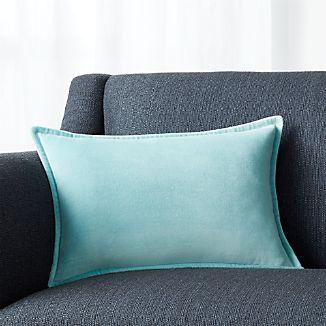 """Brenner Aqua 18""""x12"""" Velvet Pillow with Down-Alternative Insert"""