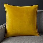Brenner Chartreuse Velvet Pillow with Down-Alternative Insert 20