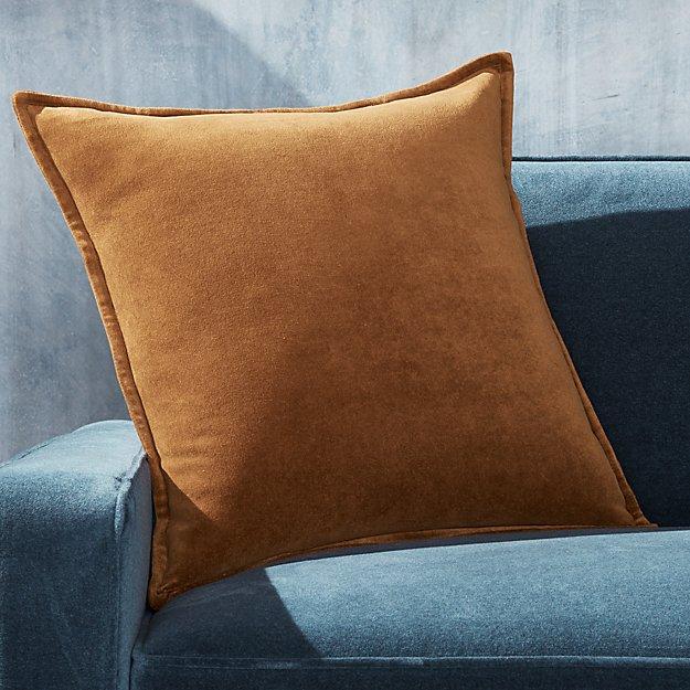 """Brenner Velvet Cognac Pillow 20"""" - Image 1 of 5"""