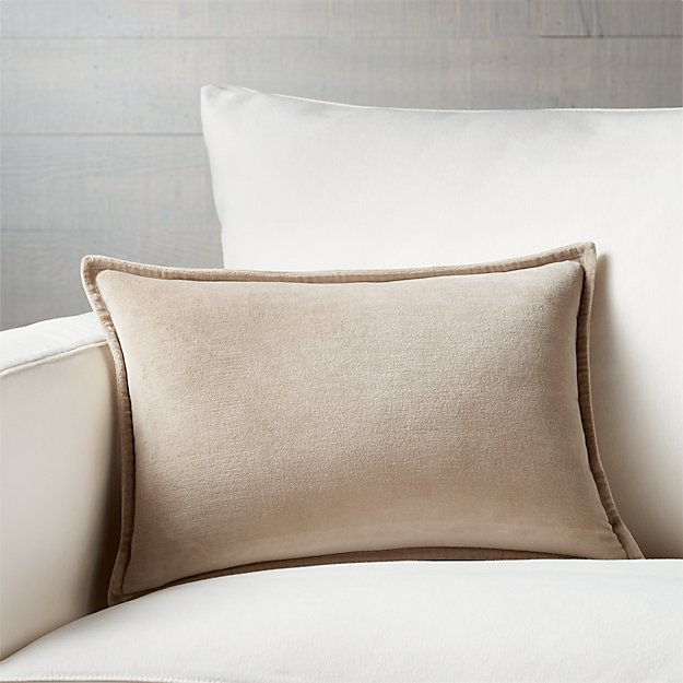 """Brenner Hummus Brown 18""""x12"""" Velvet Pillow with Feather Down Insert"""