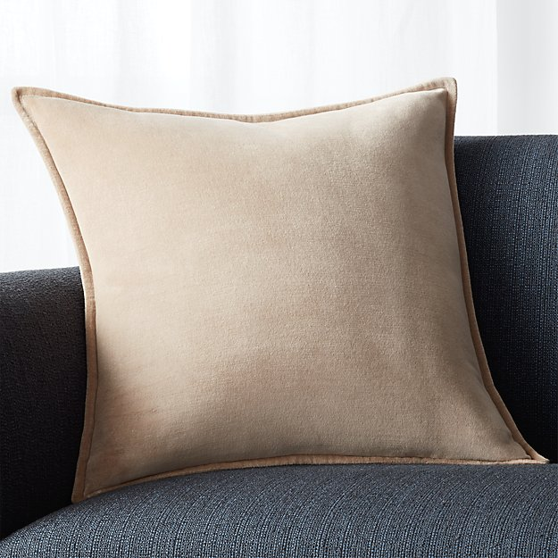 "Brenner Hummus Brown 20"" Velvet Pillow"