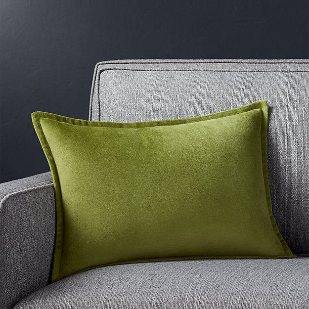 "Brenner Leaf Green 18""x12"" Velvet Pillow with Feather-Down Insert"