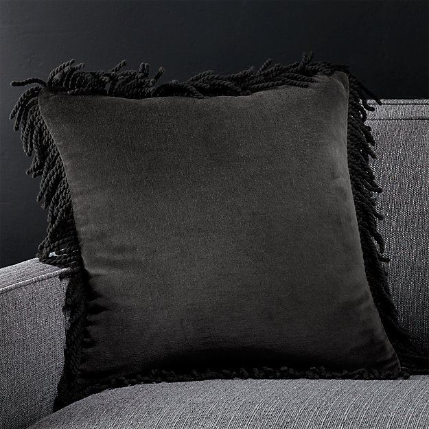 "Brenner Grey 18"" Fringe Velvet Pillow with Feather-Down Insert"