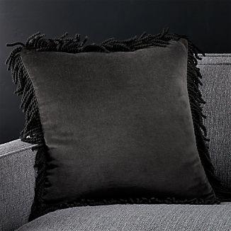 """Brenner Grey 18"""" Fringe Velvet Pillow with Feather-Down Insert"""