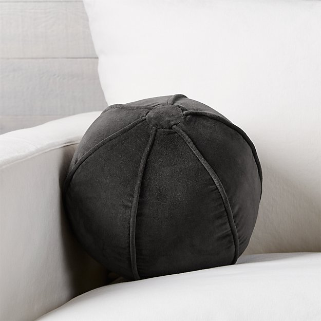 "Brenner Grey 12"" Sphere Velvet Pillow"