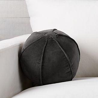 """Brenner Grey 12"""" Sphere Velvet Pillow"""
