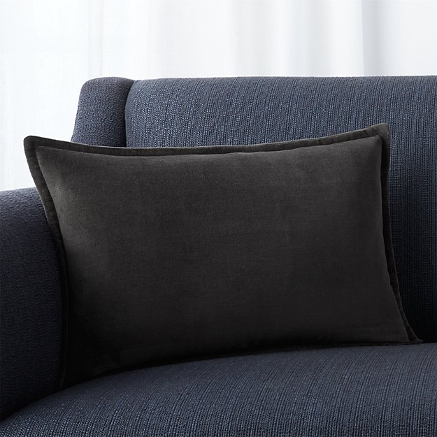 "Brenner Grey 18""x12"" Pillow with Feather-Down Insert"