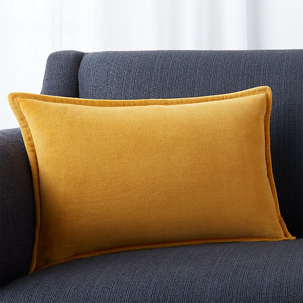 """Brenner Yellow 18""""x12"""" Pillow with Feather-Down Insert"""