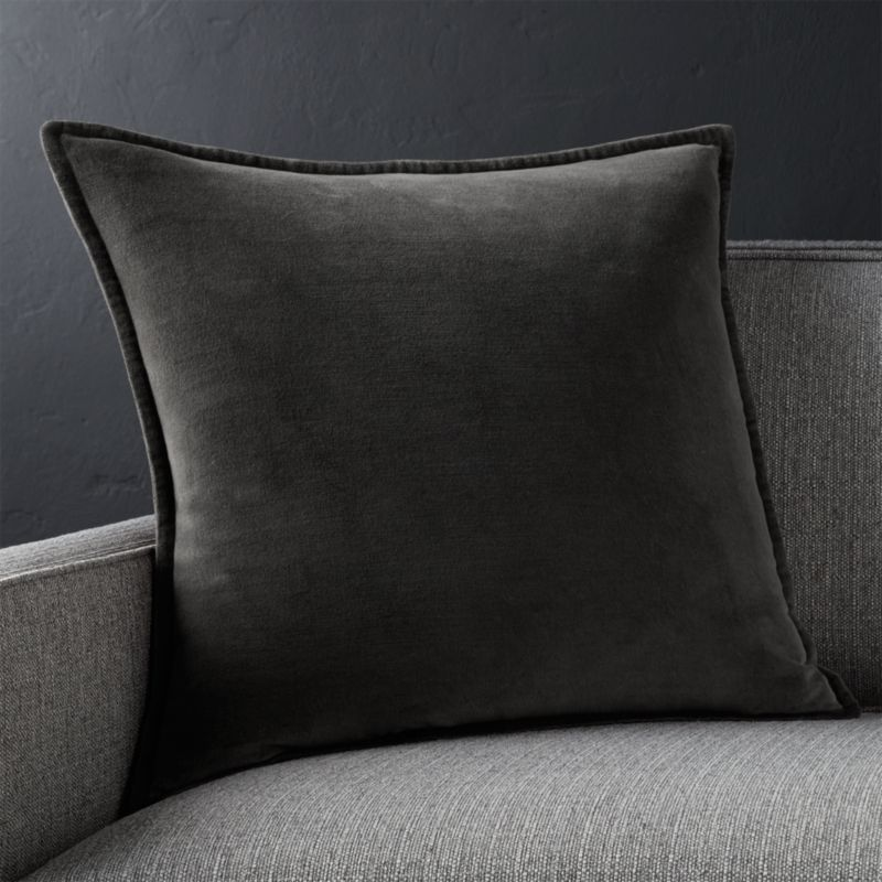 Brenner Charcoal Velvet Pillow Crate And Barrel