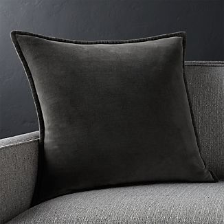 "Brenner Grey 20"" Velvet Pillow with Feather-Down Insert"