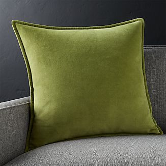 "Brenner Leaf Green 20"" Velvet Pillow with Feather-Down Insert"