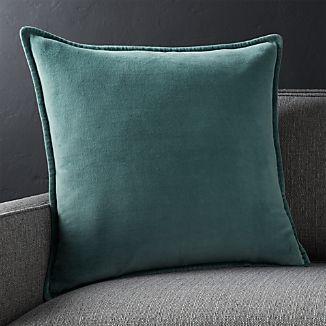 """Brenner Slate Grey 20"""" Velvet Pillow with Down-Alternative Insert"""