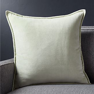 "Brenner Sage Green 20"" Velvet Pillow with Down-Alternative Insert"