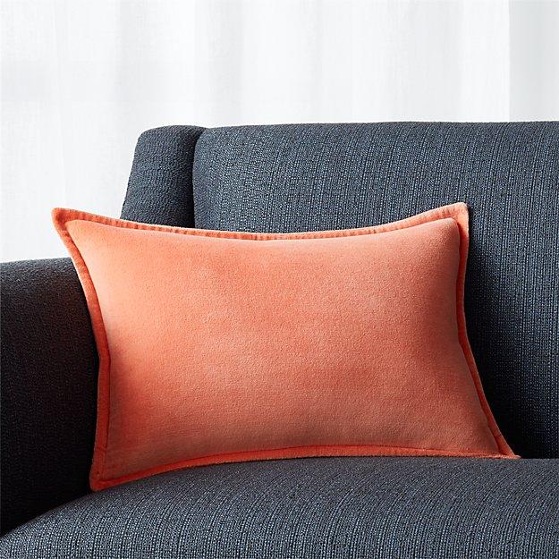 """Brenner Sherbet Orange 18""""x12"""" Velvet Pillow with Feather-Down Insert"""
