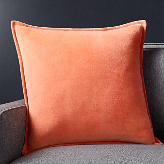 """Brenner Sherbet Orange 20"""" Velvet Pillow with Feather-Down Insert"""
