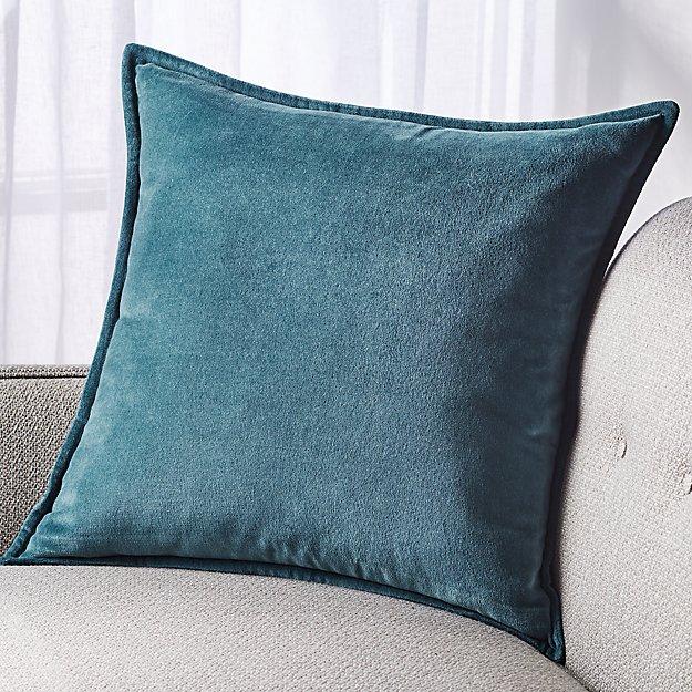 """Brenner Teal Velvet Pillow 20"""" - Image 1 of 6"""