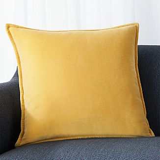 "Brenner Spicy Mustard 20"" Velvet Pillow with Down-Alternative Insert"