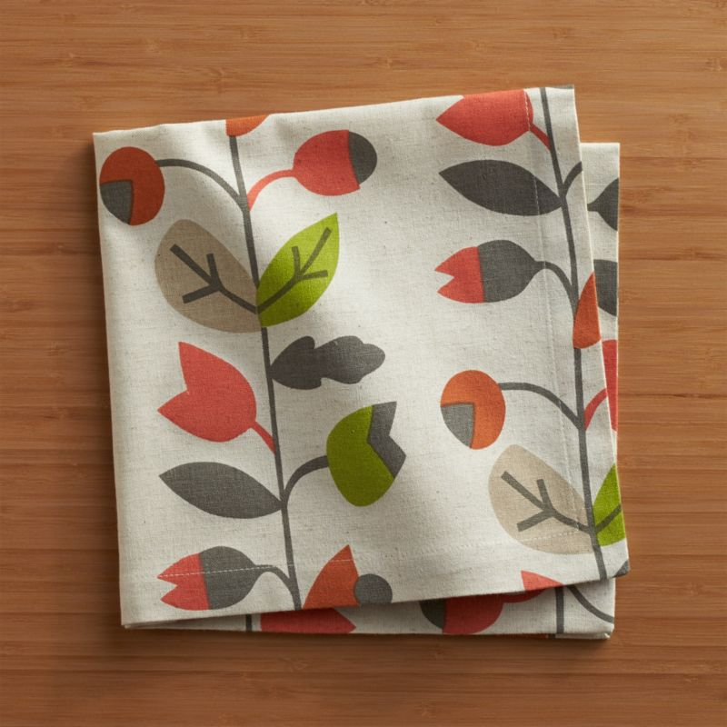 Berry-laden vines scroll autumn colors on natural cotton flax, screen-printed for an artisanal, organic look. Coordinate with matching placemats and runners.<br /><br /><NEWTAG/><ul><li>63% cotton and 37% linen</li><li>Machine wash cold, dry flat; warm iron as needed</li><li>Do not dry clean or bleach</li></ul>