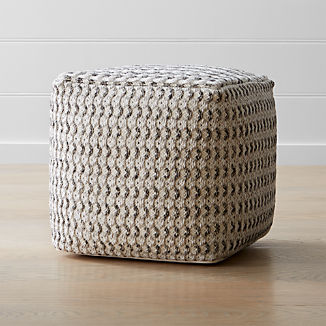 "Briar 18""x18"" Neutral Pouf"