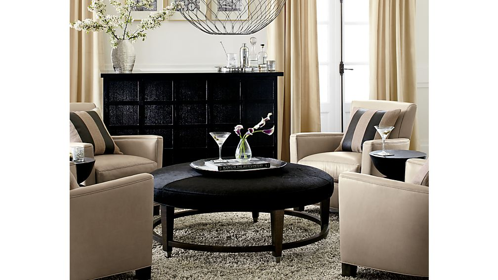 """Ainsley 48"""" Round Leather Cocktail Ottoman"""