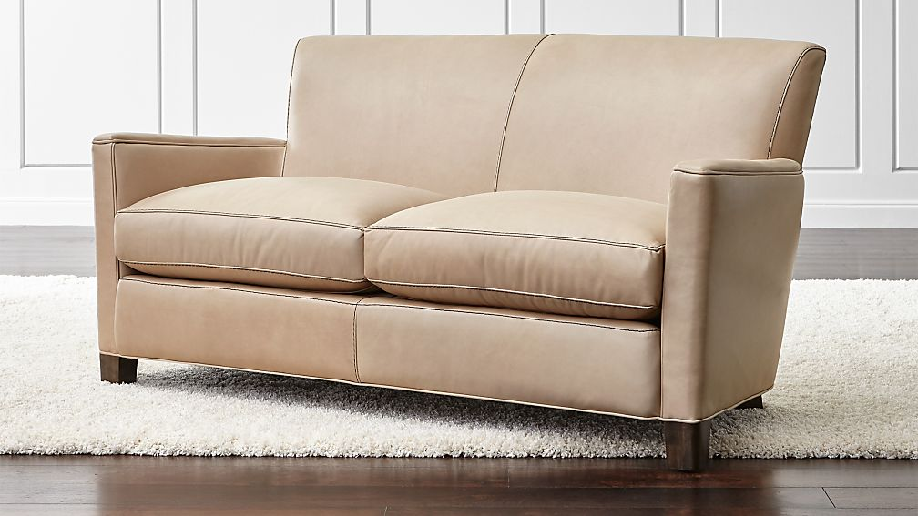 Briarwood Beige Leather Loveseat Reviews Crate And Barrel