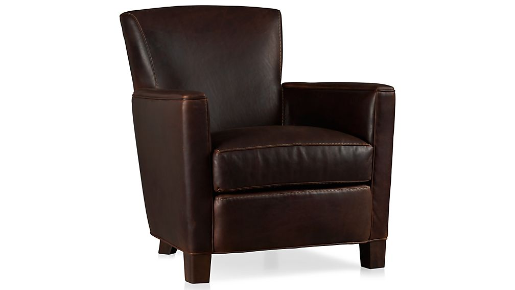 Briarwood Brown Leather Club Chair Crate And Barrel
