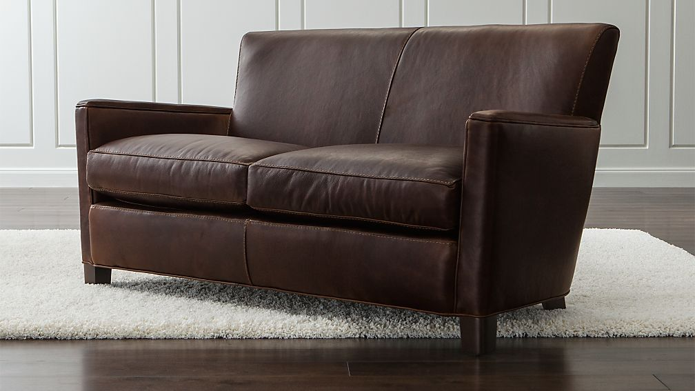 briarwood brown leather loveseat reviews crate and barrel. Black Bedroom Furniture Sets. Home Design Ideas
