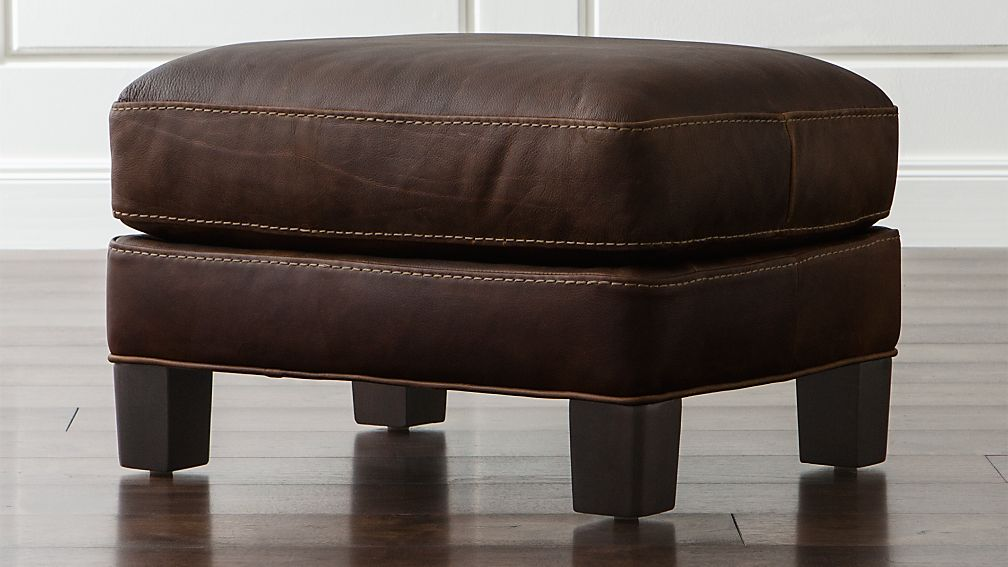 Briarwood Leather Ottoman - Image 1 of 6