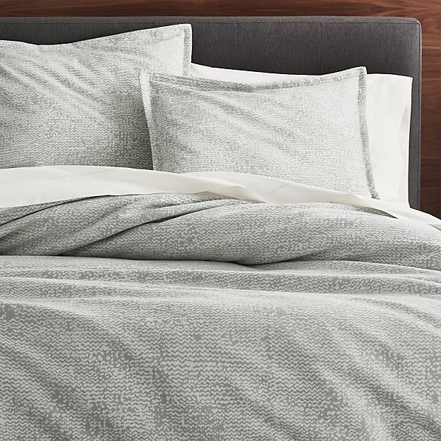 Brice grey patterned duvet covers and pillow shams crate for Crate barrel comforter