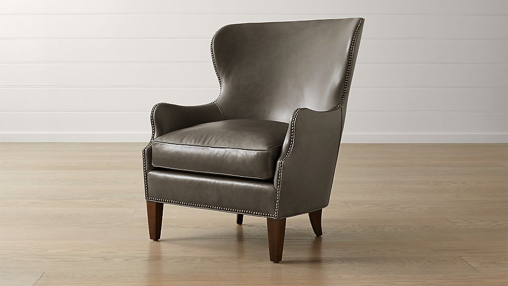 Brielle Nailhead Leather Wingback Chair - Image 1 of 9