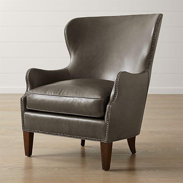 Brielle Nailhead Leather Wingback Chair