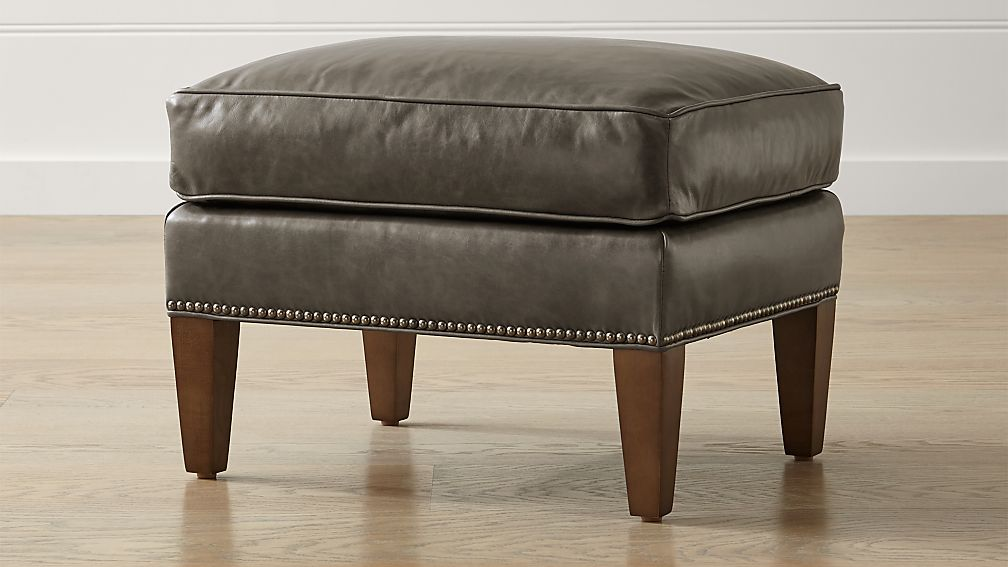 brielle leather ottoman crate and barrel. Black Bedroom Furniture Sets. Home Design Ideas