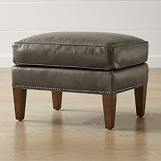 brielle leather ottoman - Brown Leather Ottoman