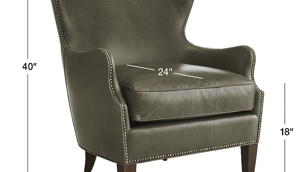 TAP TO ZOOM Image With Dimension For Brielle Nailhead Leather Wingback Chair