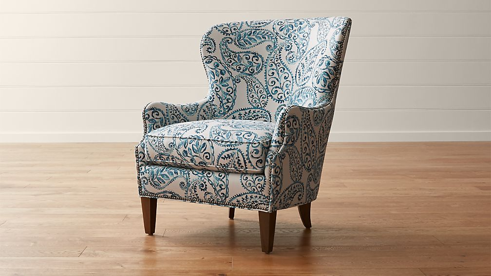 Finest Brielle Blue Wingback Armchair + Reviews | Crate and Barrel LH57