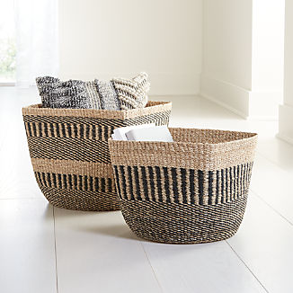 Briget Natural/Black Abaca Basket