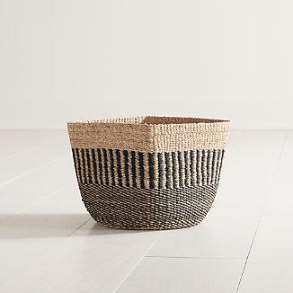 Briget Small Natural/Black Abaca Basket