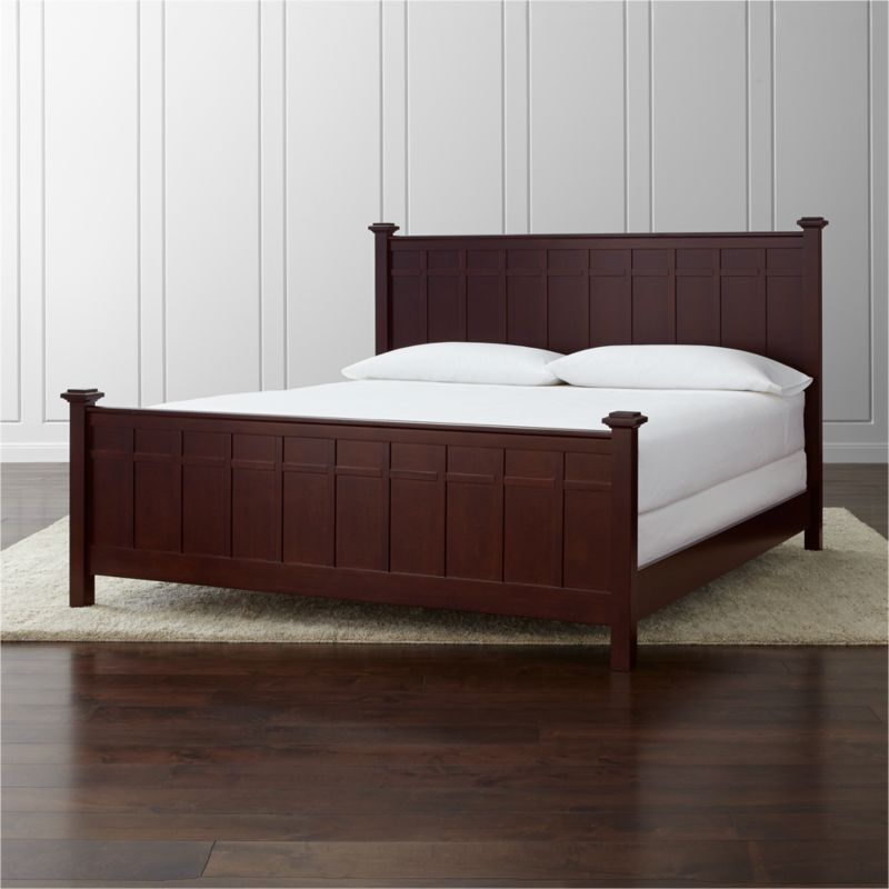 "In an update on classic cottage styling, our Brighton king bed offers a clean, contemporary silhouette with squared-off headboard, footboard, posts and finials. The coffee brown finish and architectural board and batten detailing lend a distinctive touch to the traditional design. <NEWTAG/><ul><li>Designed by Blake Tovin of Tovin Design</li><li>Solid poplar and engineered wood with coffee brown lacquer finish</li><li>Naturally expands and contracts with changes in humidity</li><li>Adjustable for mattress and box spring or mattress only for under-bed storage</li><li>13 slats and 3 support legs</li><li>Accommodates <a href=""/furniture/mattresses-foundations/1"">mattress and box spring</a> (sold separately)- when slats are in lower position</li><li><a href=""/furniture/mattresses-foundations/1"">Mattresses</a> and optional <a href=/bunky-board/f30646>bunky board</a> available (sold separately)- when slats are in raised position</li><li>Maximum weight capacity: 800 pounds (includes weight of mattress, optional box spring and occupants)</li><li>Made in Vietnam</li></ul>"