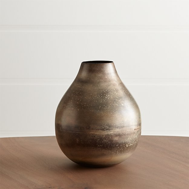 Cb2 Free Shipping >> Bringham Small Metal Vase + Reviews | Crate and Barrel