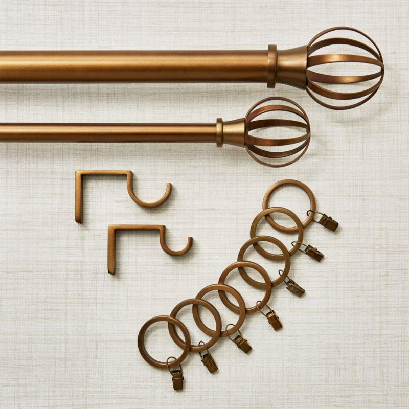 bristol antique bronze curtain rod set