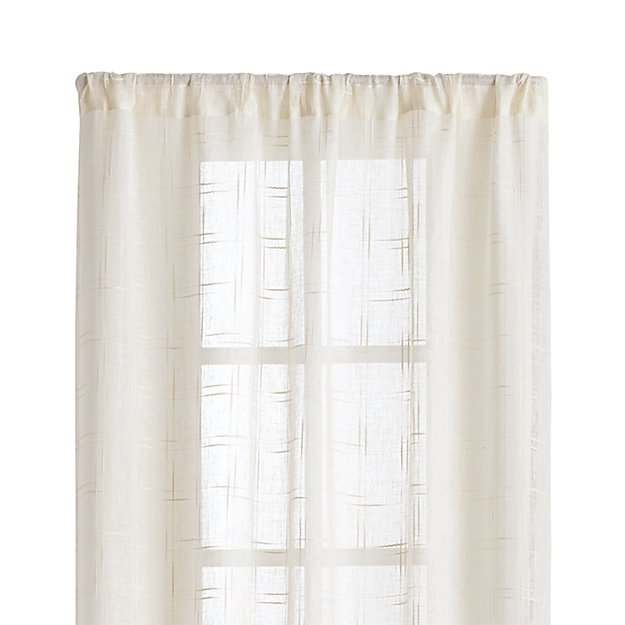 "Briza 50""x84"" Ivory Sheer Linen Curtain Panel"