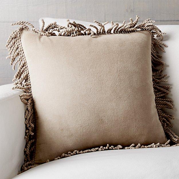 """Brenner Hummus 18"""" Fringe Velvet Pillow with Down-Alternative Insert"""